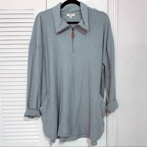 NWOT Boutique Grey Thermal Quarter Zip